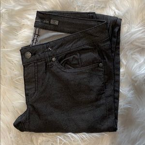 Prana Kara Metallic Black Straight Leg Jeans sz 26